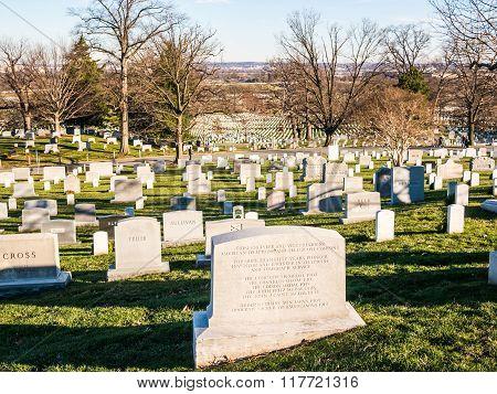 WASHINGTON DC USA - DECEMBER 26 2014: Gravestone of the ATT Pioneer and Inventor on Arlington National Cemetery.