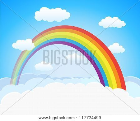 Cartoon Sky With Rainbow And Clouds