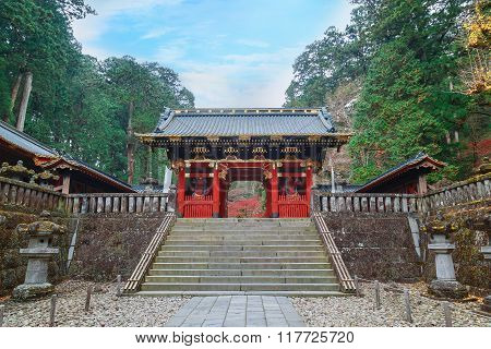 Nio-mon Gate at Taiyuinbyo - the Mausoleum of Shogun Tokugawa Iemitsu in Nikko, Japan