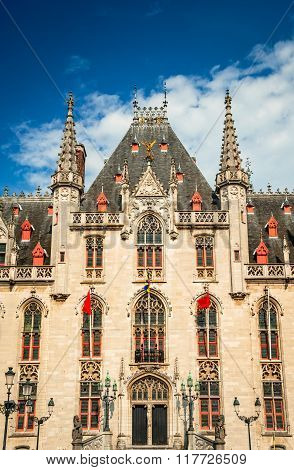 Provinciaal Hof built in 1284 neogothical building on the Grote Markt place in Bruges Belgium.