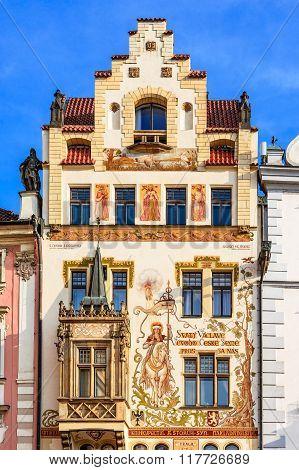 PRAGUE, CZECH REPUBLIC - 8 AUGUST 2015: Prague Czech Republic. Scenic summer detail of the Old Town architecture in Praha Bohemia.