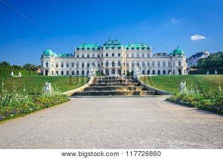 Vienna Austria. Beautiful view of famous Schloss Belvedere summer residence for Prince Eugene of Savoy in Wien capital of Habsburg Empire.