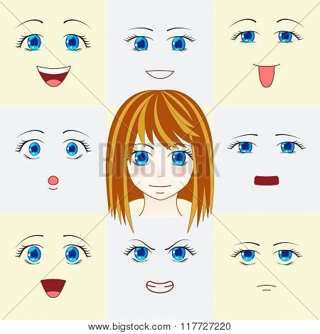Set of faces in manga style. Cute anime eyes and mouths. Different human eyes and lips showing vario