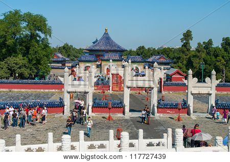Beijing, China - September 26, 2012: Tourists Visit A Lingxing Gate Of Circular Mound Altar In The C