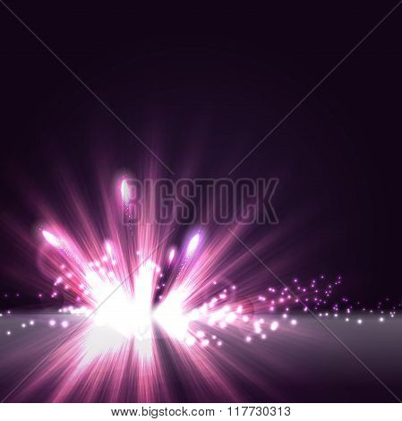 Abstract radial light background with glitter and firework. Viol