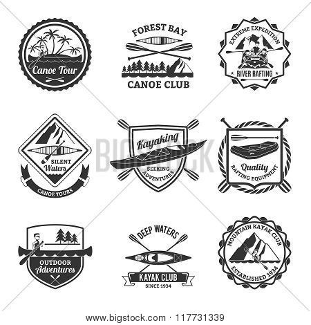 Rafting Canoeing And Kayak Emblems Set