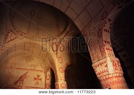 Fresco in the ancient church. Cappadocia Turkey poster