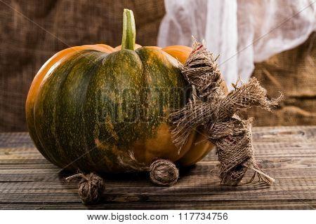 Rag Doll Near Pumpkin