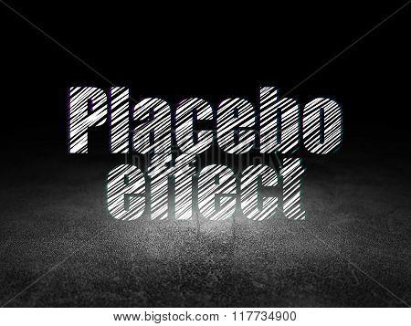Healthcare concept: Placebo Effect in grunge dark room