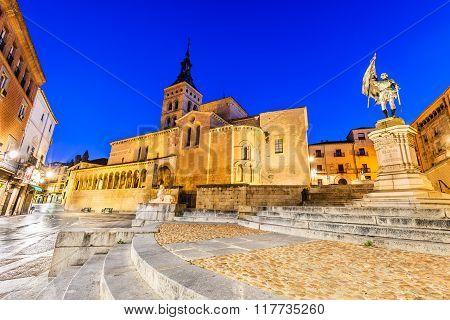 Segovia Spain. Plaza de Medina del Campo with San Martin Church twilight of Castile Castillia.