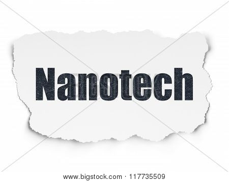 Science concept: Nanotech on Torn Paper background