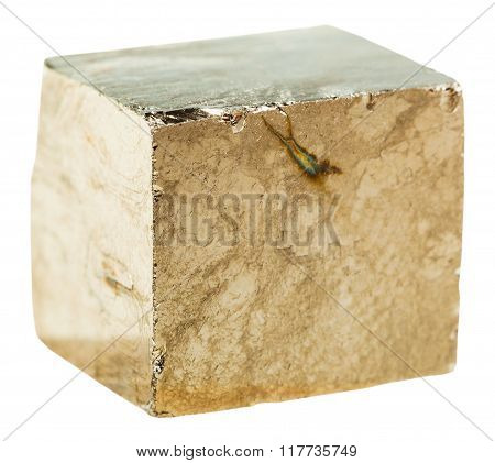 Pyrite Cubic Crystal Rock Isolated