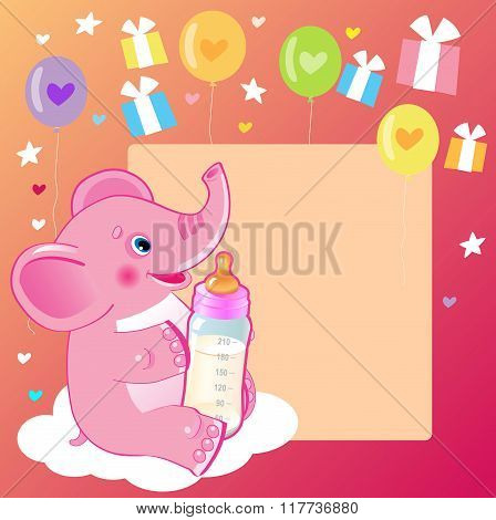 Cute Elephant With Milk Bottle. Welcome Baby Girl Card. Vector Illustration. Cute Elephant Drawing. Happy Birthday. Cute Elephant Baby Eating. Cute Elephant Baby. Cute Elephant Template.