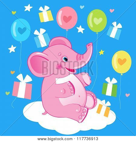 Happy Birthday. Birthday Picture. Cute Elephant. Vector Illustration. Cute Elephant Drawing. Elephant Picture. Elephant Plush. Elephant With Milk. Elephant Costume. Elephant Meme. Elephant Gifts.