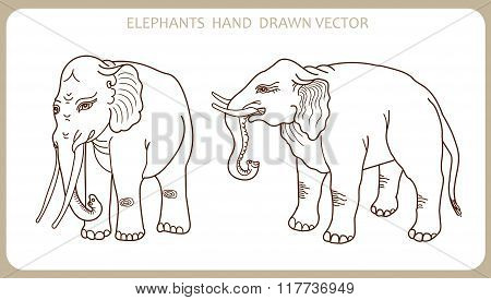 Elephants In Indian Style. Hand Drawn Silhouette. Vector Illustration. Elephant Tattoo. Elephant Decor. Elephant Revival. Elephant Hipster. Elephant Seal. Elephant As Toy. Elephant Plush.