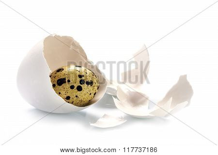 Quail Egg In A Chicken Eggshell Isolated On A White, Easter Concept Or Metaphor For Uncover The Fact