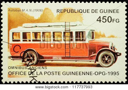 Old Autobus Man (1906) On Postage Stamp