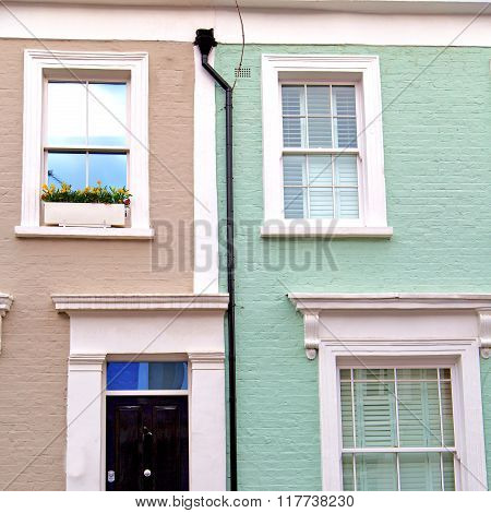 Notting   Hill  Area  In London England Old Suburban And Antique Blue  Wall