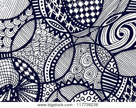 Zentangle Background Tangled Ornament On White 3