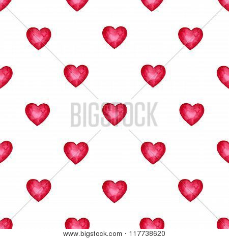 Cute watercolor background Red hearts. Trendy pattern for printing on fabric or web