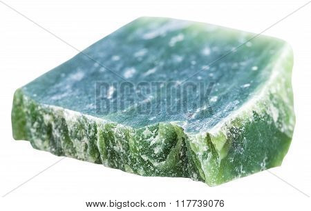 macro shooting of natural mineral stone - green nephrite gemstone isolated on white background poster
