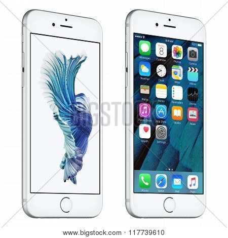 Silver Apple Iphone 6S Slightly Rotated Front View With Ios 9 And Dynamic Wallpaper On The Screen