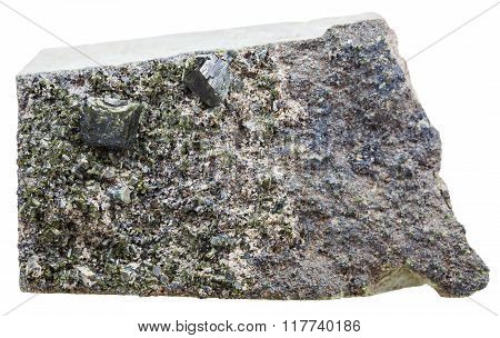 Green Epidote Crystals On Rock Isolated