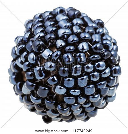 Ball From Many Sewn Black Glass Beads Close Up