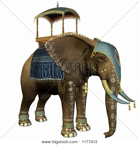 3 d computer render of an elephant with howdah poster