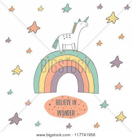 Postcard with unicorn