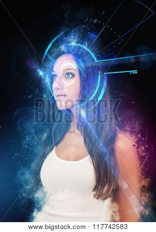 Waist Up Portrait of Young Woman with Long Dark Hair Wearing White Tank Top Looking Wide-Eyed to the Side, on Black Background with Graphic Technological Overlay