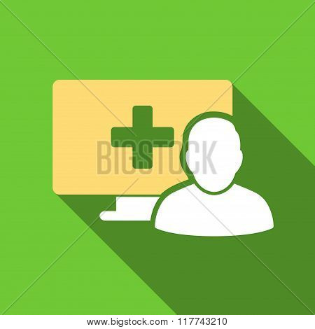 Online Medicine Flat Long Shadow Square Icon