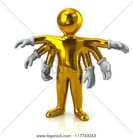 Golden Cartoon Character Man With Six Hands