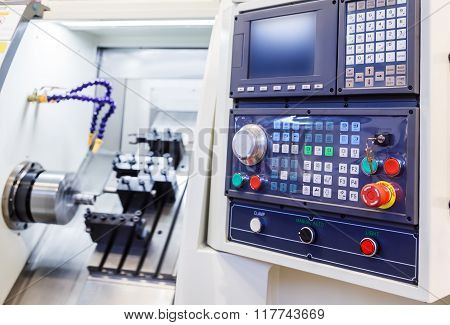 Control Panel of the machine with numerical control