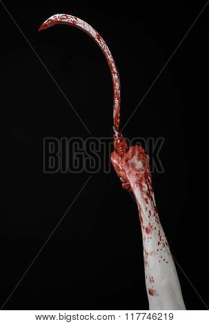 Bloody Hand Holding A Sickle, Sickle Bloody, Bloody Scythe, Bloody Theme, Halloween Theme, Black Bac