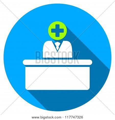 Medical Bureaucrat Flat Round Icon with Long Shadow