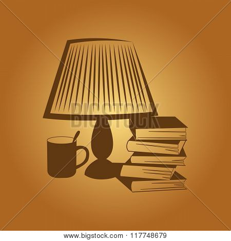 The lamp on the table. Rest, reading, books, cup, tea