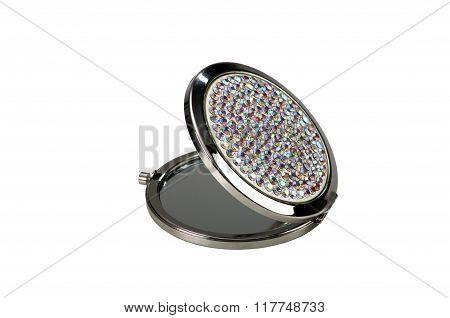 Round Pocket Makeup Mirror With Stones On White