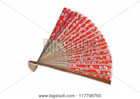 Female Hand Fan Isolated On White Background