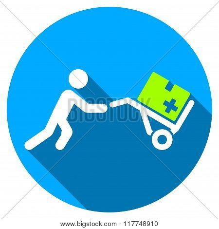 Medical Shopping Flat Round Icon with Long Shadow