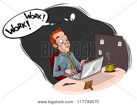 Vector illustration of a man working in the office