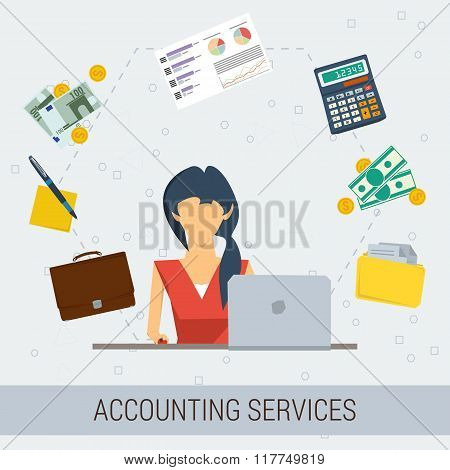 Accounting Services Flat Illustration