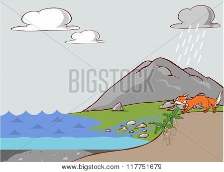 vector cartoon illustration of a phosphorus cycle