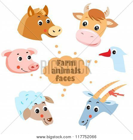 Farm Animals: Hen, Goat, Goose, Horse, Cow, Pig, Sheep. Pets. Animals On A White Background. Vector Illustration. Agriculture, Village. Animals Village. Livestock Farm. Farm Animals Faces Icons Set.
