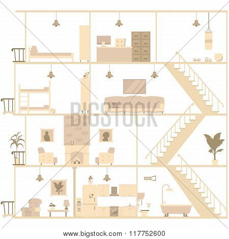 house interior silhouette. vector illustration in flat style