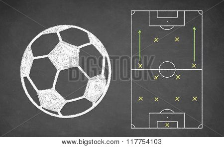 Soccer ball and tactical scheme on chalkboard.