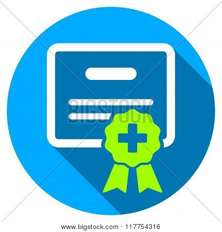 Medical Certification Flat Round Icon With Long Shadow