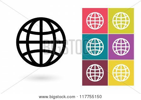 Globe symbol or globe pictogram