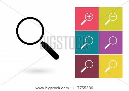 Magnify vector icon and zoom icons