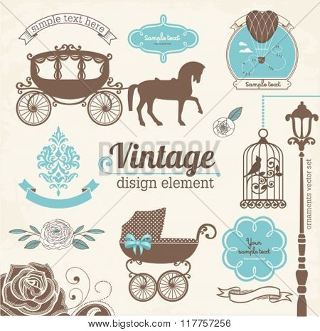 Set of wedding invitation vintage design elements, designers toolkit